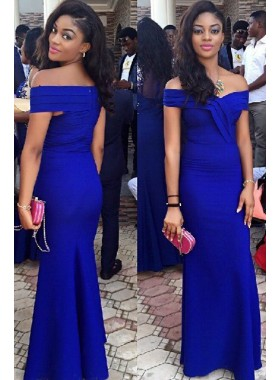 Royal Blue Off-the-Shoulder Ruffles Mermaid/Trumpet Prom Dresses