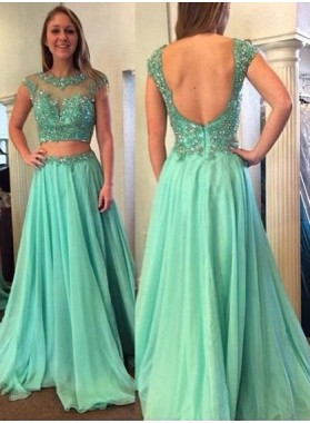 Sequins Backless Floor-Length/Long A-Line/Princess Chiffon Prom Dresses
