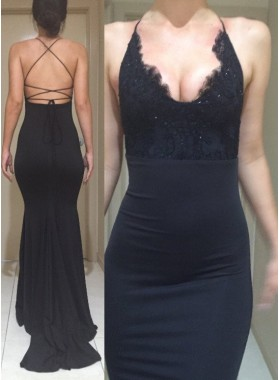 2019 Junoesque Black Halter Backless Mermaid/Trumpet Stretch Satin Prom Dresses