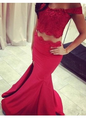 2019 Gorgeous Red Beading Appliques Off-the-Shoulder Satin Two Pieces Prom Dresses