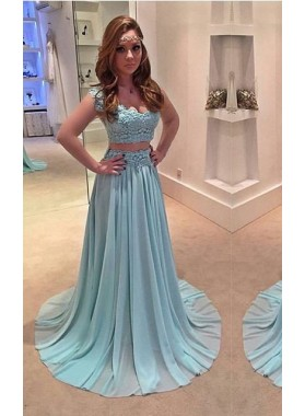 LadyPromDress 2019 Blue Appliques V-Neck A-Line/Princess Chiffon Two Pieces Prom Dresses