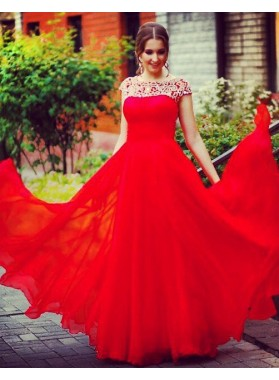 2018 Gorgeous Red Beading Short Sleeves A-Line/Princess Chiffon Prom Dresses