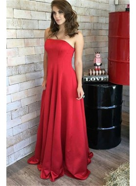 2019 Charming Princess/A-Line Satin Red Strapless Prom Dresses