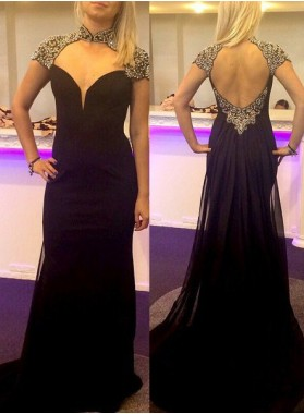 2019 Junoesque Black Queen Anne Beading Column/Sheath Prom Dresses