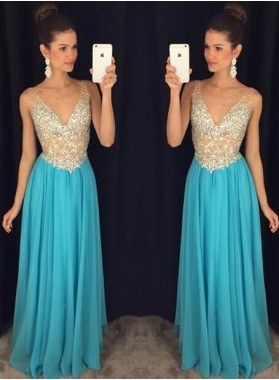 2019 Cheap Chiffon Princess/A-Line V-neck Prom Dresses