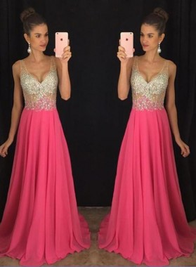 2019 Cheap Chiffon V-neck Beaded V-neck Prom Dresses