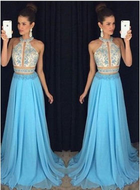 New Arrival Princess/A-Line Chiffon Blue Two Pieces Prom Dresses