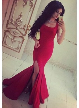 2019 Gorgeous Red Sleeveless Natural Split Front Sweep Train Mermaid/Trumpet Prom Dresses