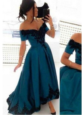 Elegant Off-the-Shoulder Appliques High-Low LadyPromDress 2019 Blue Prom Dresses