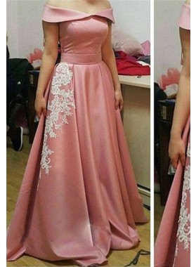 Off-the-Shoulder Appliques A-Line/Princess 2019 Glamorous Pink Prom Dresses
