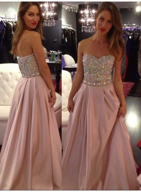 Crystal Embellished Sweetheart A-Line/Princess Prom Dresses