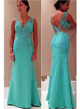 V-Neck Open-Back Mermaid/Trumpet Sleeveless Lace Prom Dresses