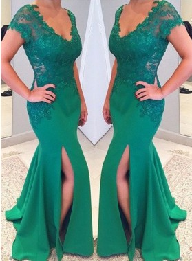 Short Sleeves Scoop Neck Split Front Floor-Length/Long Mermaid/Trumpet Prom Dresses