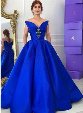 LadyPromDress 2018 Blue Elegant Crystal Floor-Length/Long Ball Gown Satin Prom Dresses