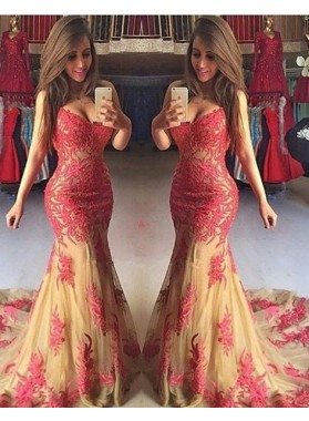 2021 Gorgeous Red Sexy Appliques Sweetheart Mermaid/Trumpet Tulle Prom Dresses