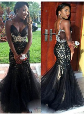 2019 Junoesque Black Prom Dresses Spaghetti Straps Crystal Appliques Mermaid/Trumpet Tulle