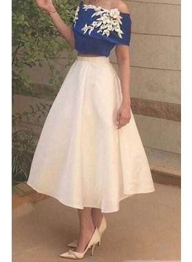 Flowers Off-the-Shoulder A-Line/Princess Satin Two Pieces Prom Dresses