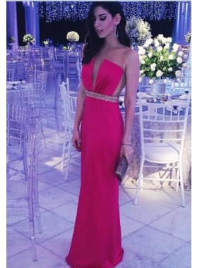Satin Red Column/Sheath Beaded Backless Prom Dresses