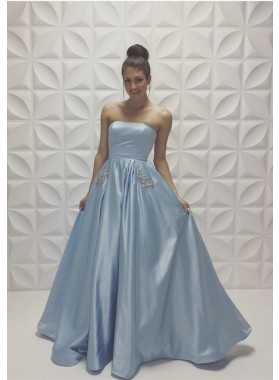New Arrival Strapless Princess/A-Line Satin Light Sky Blue Prom Dresses
