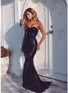 2019 Sexy Sequence Mermaid/Trumpet Sweetheart Prom Dresses