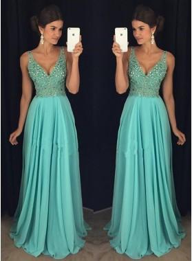 2021 Cheap Princess/A-Line Chiffon V-neck Turquoise Prom Drses