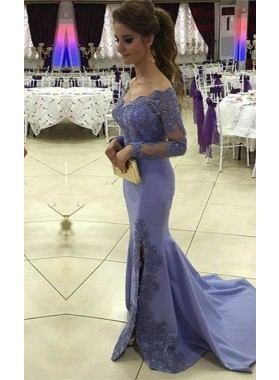 Beading Appliques Off-the-Shoulder Chiffon Long Sleeve LadyPromDress 2019 Blue Prom Dresses