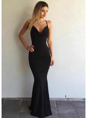 2020 Junoesque Black Criss-Cross Spaghetti Straps Chiffon Prom Dresses