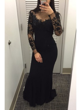 2019 Siren Mermaid/Trumpet Black Long Sleeves Prom Dresses