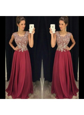 2019 Cheap Princess/A-Line Chiffon Burgundy Prom Dresses