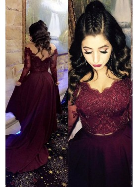2021 Siren Princess/A-Line Satin Burgundy Long Sleeves Prom Dresses Two Pieces