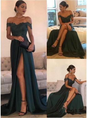 2020 Siren Princess/A-Line Satin Off The Shoulder Side Slit Dark Green Prom Dresses