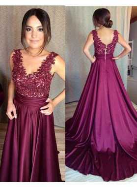 2019 Cheap Satin Princess/A-Line Burgundy Prom Dresses With Appliques