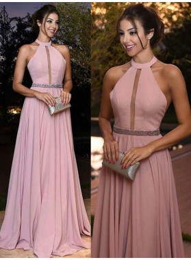 Princess/A-Line Satin Dusty Rose Halter Prom Dresses