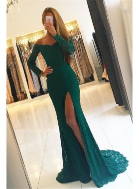 2020 Siren Column/Sheath Long Sleeves Lace Side Slit Prom Dresses