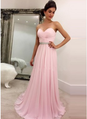 2019 Cheap Princess/A-Line Chiffon Sweetheart Pink Prom Dresses