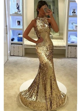 2019 Siren Mermaid/Trumpet Gold Sequence Prom Dresses