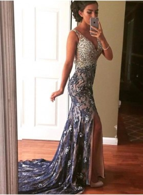2020 Sexy Mermaid/Trumpet Sweetheart Lace Side Slit Prom Dresses