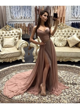 2019 Siren Princess/A-Line Dusty Rose Sweetheart Side Slit Prom Dresses