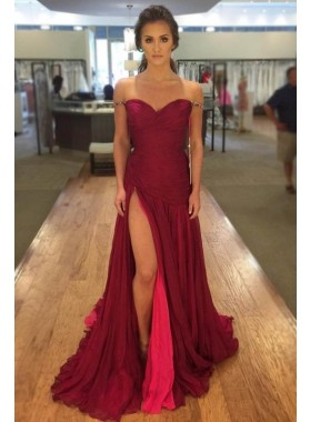 2020 Cheap Princess/A-Line Sweetheart Burgundy Prom Dresses