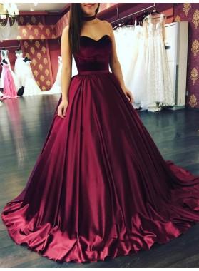 2021 Elegant Burgundy Satin Sweetheart Ball Gown Prom Dresses