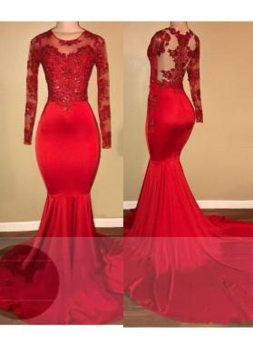 LadyPromDress 2021 Red Mermaid Prom Dresses Chiffon Scoop Neck