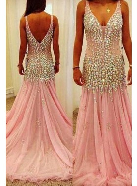 Floor-Length/Long Beading Straps A-Line/Princess Tulle Prom Dresses 2019 Glamorous Pink