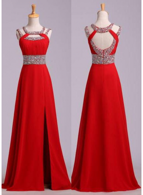 2018 Gorgeous Red Beading Open Back Chiffon Prom Dresses