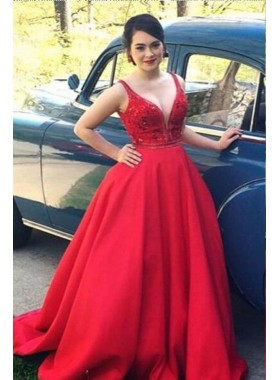 2019 Gorgeous Red Appliques Straps Ball Gown Satin Prom Dresses