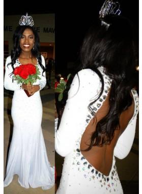 2021 Unique White Backless Long Sleeve Column/Sheath Satin Chiffon  Prom Dresses