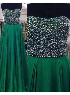 Beading Strapless Floor-Length/Long Chiffon Prom Dresses