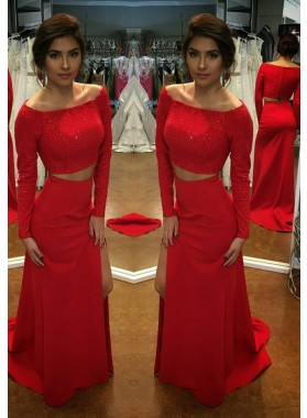 2019 Gorgeous Red Long Sleeve Column/Sheath Stretch Satin Two Pieces Prom Dresses