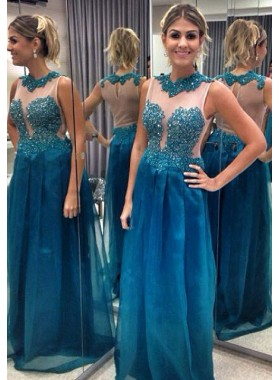 LadyPromDress 2019 Blue Beading Jewel Neck A-Line/Princess Tulle Prom Dresses