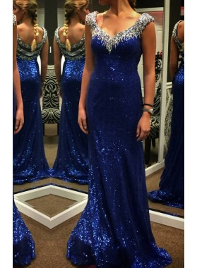 LadyPromDress 2019 Blue Beading Sweep/Brush Train Column/Sheath Sequins Prom Dresses