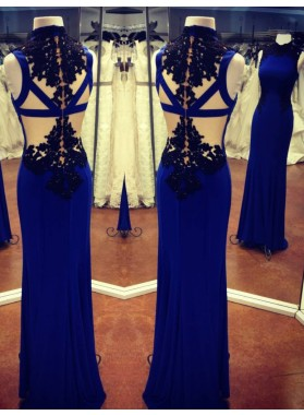 LadyPromDress 2019 Blue High Neck Floor-Length/Long Column/Sheath Stretch Satin Prom Dresses